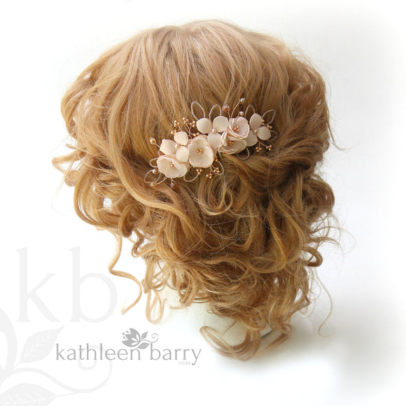 blush pink bridal hair comb rose gold colors to order