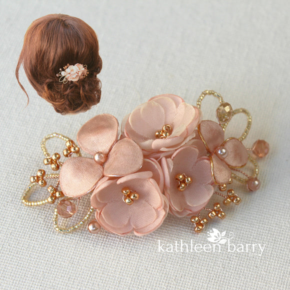 Mini Rose gold blush pink hair clip or mix and match color variations - clip attachment