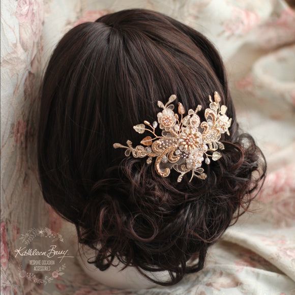 Lace rosegold hairpiece blush - wedding bridal accessories - veil comb - gold - copper - rose gold