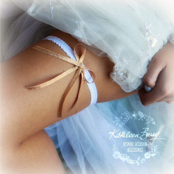 Maria Metallic ribbon bridal tossing garter -available in rose gold, silver and pale gold