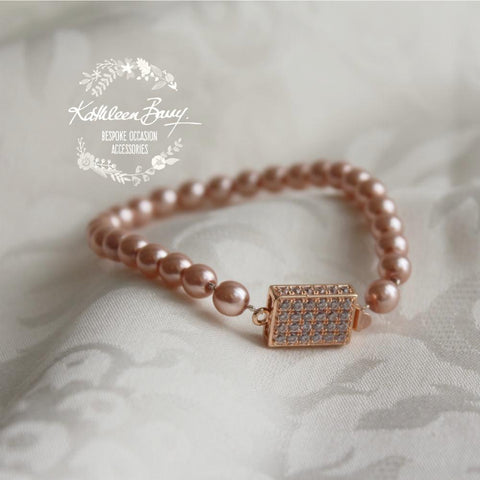 Rozelle single strand pearl bracelet - Available in Gold and Rose gold finish