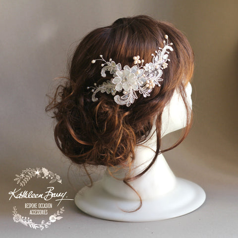 Gabriella Bridal Lace Rhinestone hair piece, 3D lace flower motif in 'ivory nude blush' with silver tones