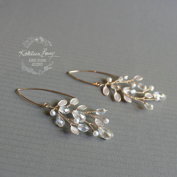 Sarah-Faye Earrings - Gold option - Leaf enamel inlay, pearl & crystal