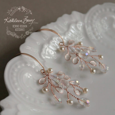 Sarah-Faye Earrings - Rose Gold option - Leaf enamel inlay, pearl & crystal