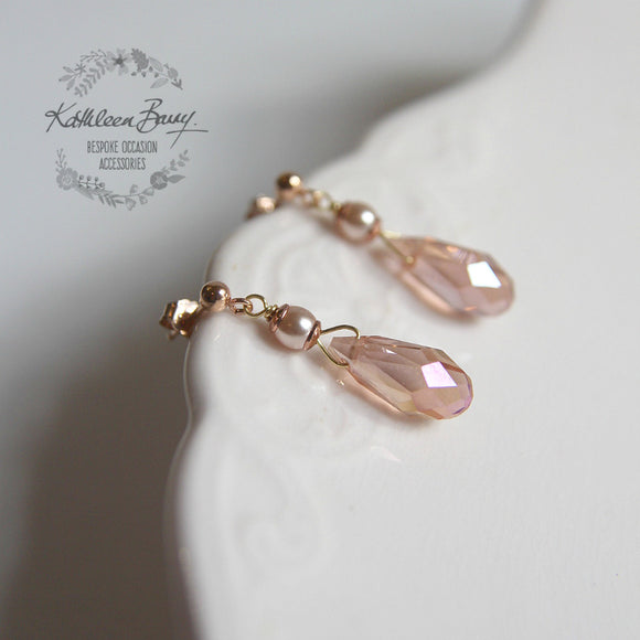 Sarah Rose gold blush pink dainty crystal drop earrings