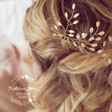 Sarah-Faye Leaf hair pins - Options Rose gold, gold, silver - sold individually