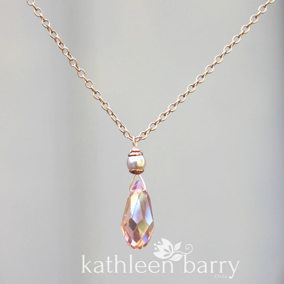 Sarah chain necklace crystal drop pendent, 14K gold, Rose gold filled or sterling silver