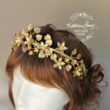French Gild Style Gold leaf Crown Tiara Headband