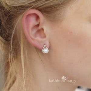 Shannon Cubic Zirconia Parve set and Fresh water pearl stud earrings - Limited stock available