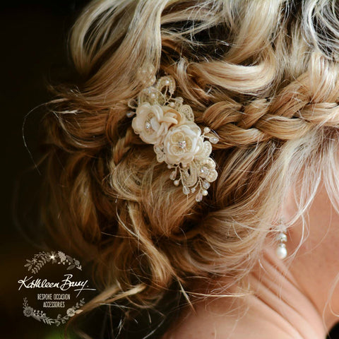 Sheena Hairpiece lace ivory, small flowers and hand beaded Chantilly Lace - Bridal wedding hair accessory