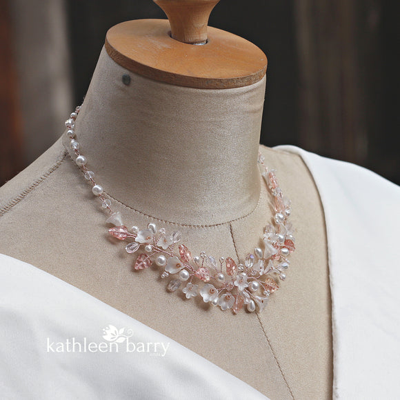 Nadine floral necklace - Flowers, leaves, crystals and pearls in rose gold, gold or silver finish