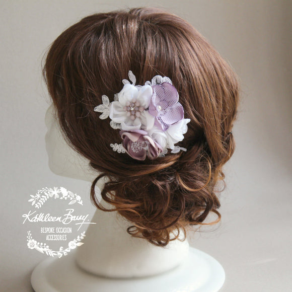 Shelly bridal hairpiece fascinator - colors to order - mauve and Ivory