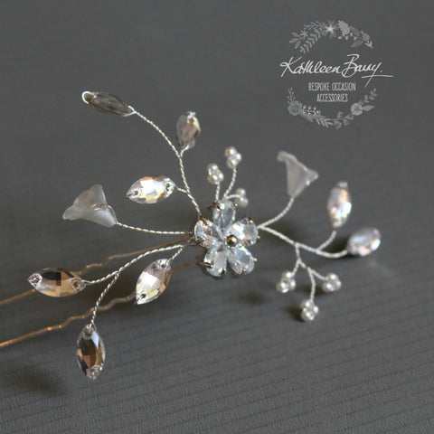 Bridal hair pin Janine - floral frosted flowers, rhinestone and pearls - also available in gold