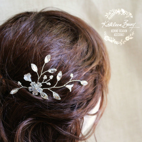 Mandy Bridal hair pin - floral frosted flowers, rhinestone and pearls - also available in gold
