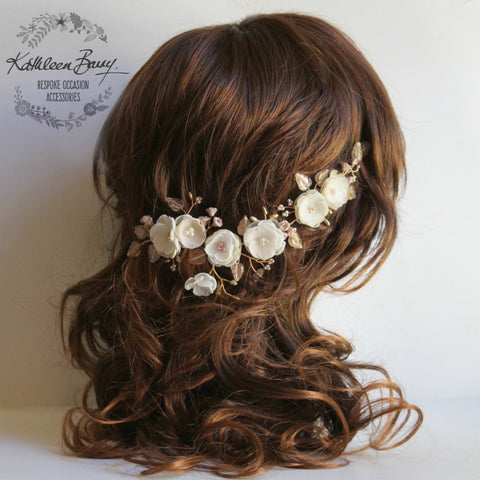 Stacey floral hairpiece - Bridal wedding flower hair accessory - champagne, ivory rose gold