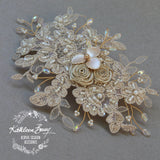 Stephni Champagne Lace hairpiece vintage bridal wedding bridal veil clip