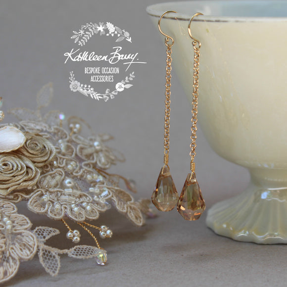 Talia champagne and gold crystal drop earrings also available in silver finish