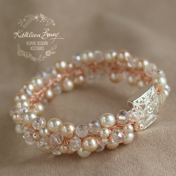 Tamyn Bracelet Rose gold- pearls and crystals - Bridal wedding jewellery - Cuff