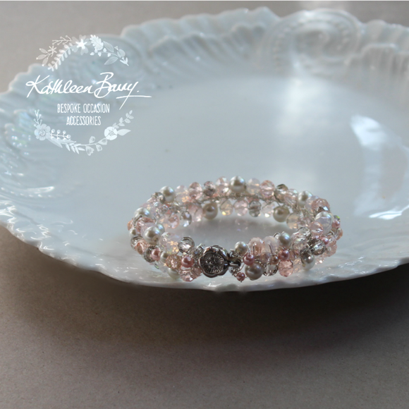Tana Bracelet - Crystal & Pearl Bridal Bracelet - Pink and grey