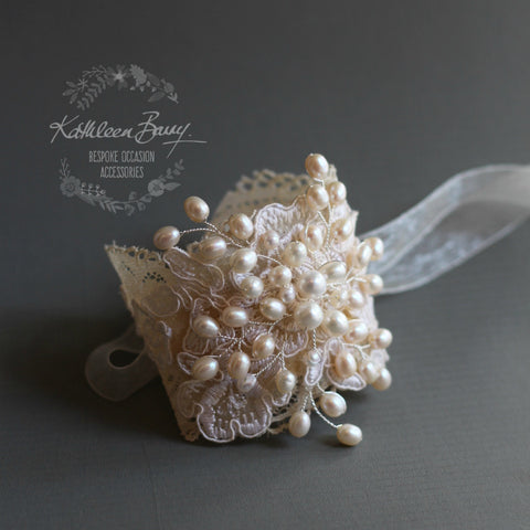 Tanya Lace & Pearl Cuff Bracelet Freshwater Pearls Wedding accessories, bracelet pearl lace