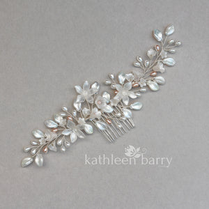 Taryn Statement floral and pearl hairpiece - Silver, gold or rose gold