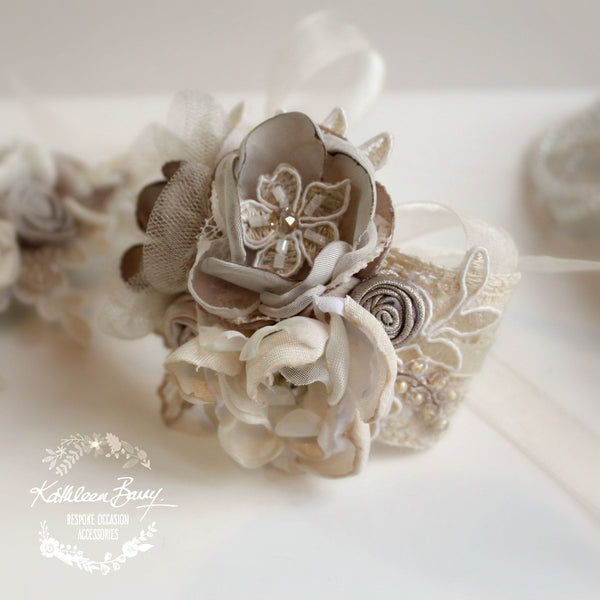 Lace Wrist Corsage Oyster Taupe Pebble Wedding