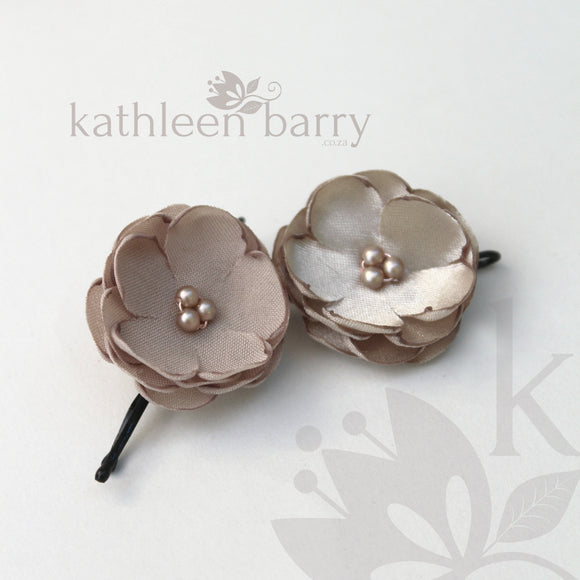 Dainty flower hair pin - Tiny flower hair clips sold individually, Taupe - Assorted colors