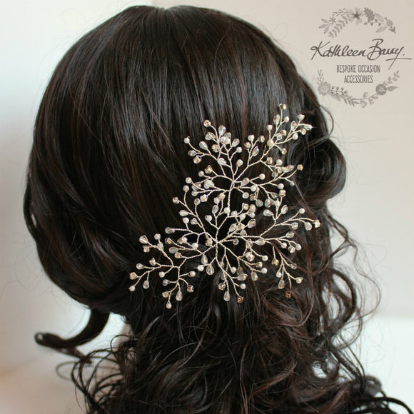 Tessa Bridal Hairpiece  - Crystal, diamante & Pearl, wedding hair accessory, bridal hair clip - pin silver or gold