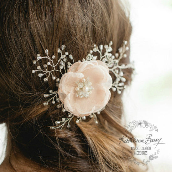 Tessa Floral Bridal Hairpiece - Crystal, diamante & Pearl, wedding hair accessory, bridal hair clip - pin silver or gold