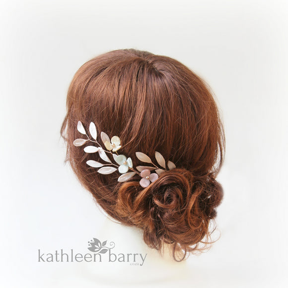 Theora leaf hairpiece - satin sculpted fabric leaves & flowers - color options available