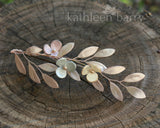 Theora leaf hairpiece - satin sculpted fabric leaves & flowers - pastel shades, many color options available