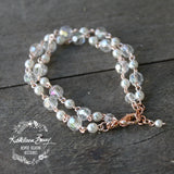 Donna rose gold crystal pearl double strand bracelet - Silver available