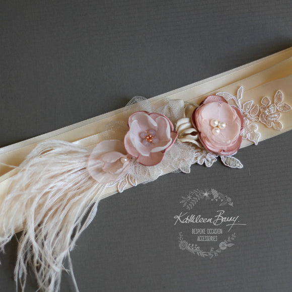 Valentine Cream Blush Bridal Feather Sash