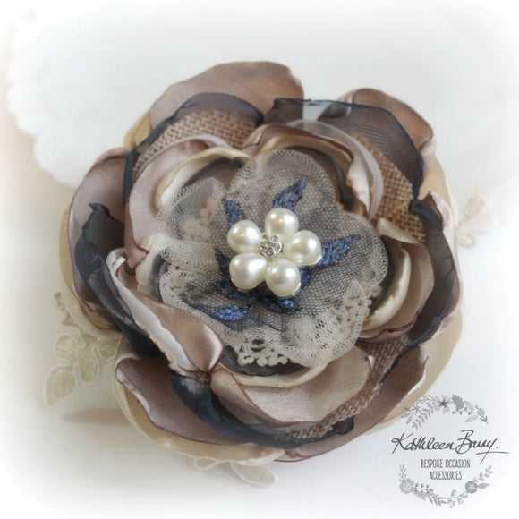 Hair flower, Navy blue, antique gold and pearl - Rustic wedding Burlap - option for brooch, corsage, belt accessory