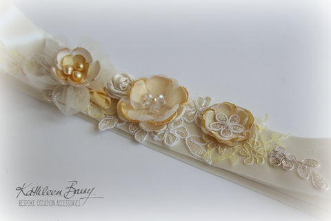 Sally Wedding Dress Sash Bridal Belt with lace and handmade flower detail in pale lemon yellow