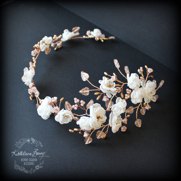 Wendy Rose Gold Amp Ivory Flower Bridal Hair Accessory Hair