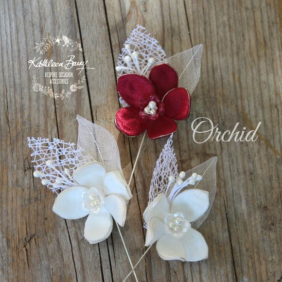 Wesley Orchid Boutonniere, Brooch lapel pins - Orchids assorted colors available