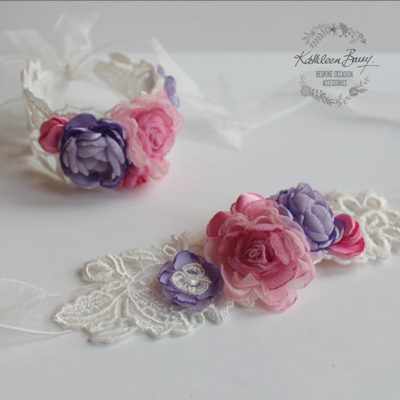 Wrist Corsage Pink and purple flower girl dainty colors avaolable