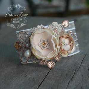 Jeanine wrist corsage cuff bracelet - Rose gold, nude taupe & tan (colors on request)