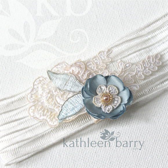 Yvonne garter ivory with flower detail and lace - Dusty blue - color options available