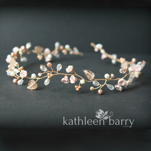 Zoe Rose gold wedding headband - hair wreath - flower crown