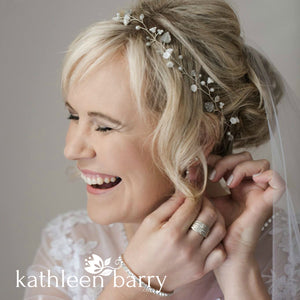 Zoe White & Silver wedding bridal hair headband - hair wreath crown