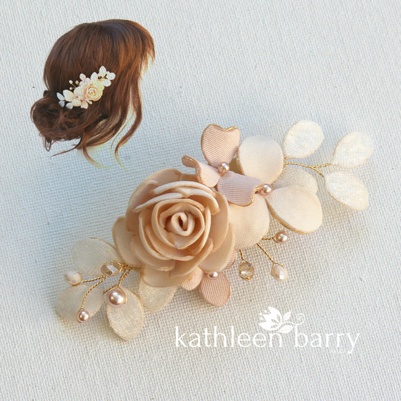 Audrey hairpiece - sculpted fabric flowers - Assorted colors available - Rose gold, pale gold or silver option