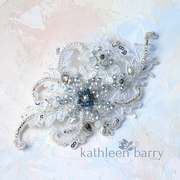 Navy blue ivory lace hairpiece - veil accessory - Custom colors available - STYLE: Casey