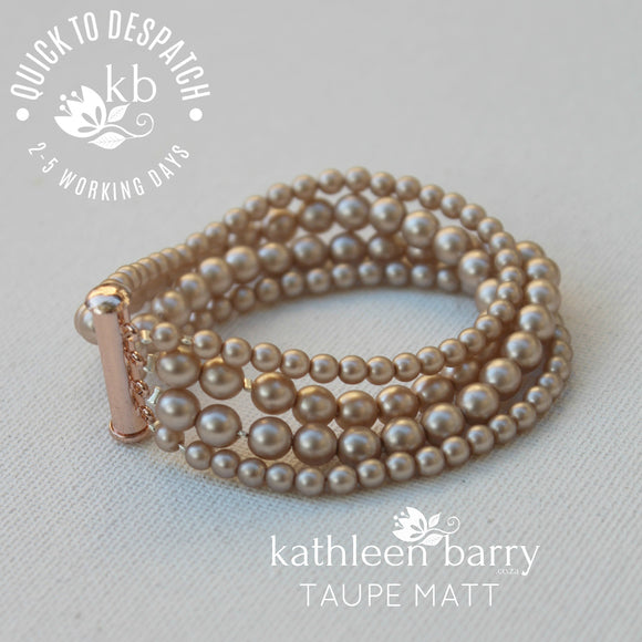 Colleen 4 strand pearl cuff bracelet (7 PEARL COLORS AVAILABLE) Sold individually - Taupe nude