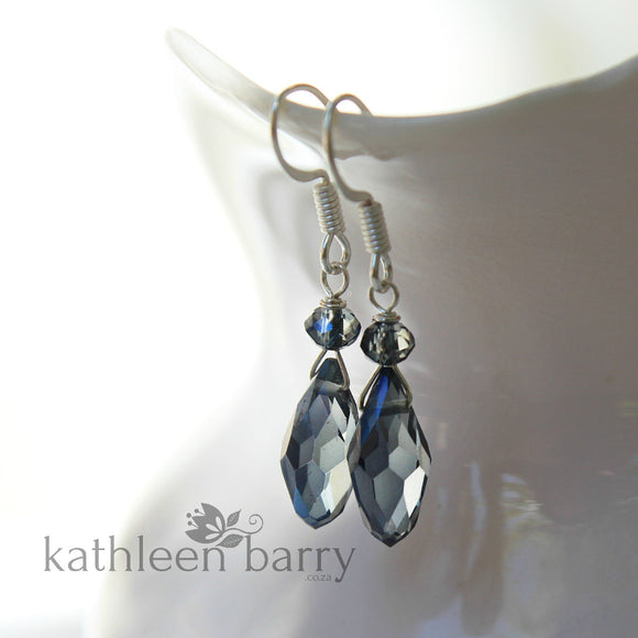Navy blue crystal drop earrings, Silver or gold finish STYLE: Kate
