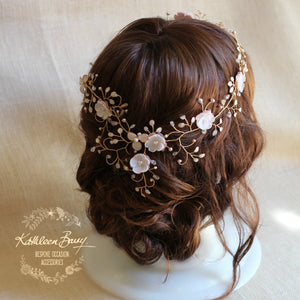 Gazelle Bridal Hair Crown Wreath Vine in Gold & Blush Pink tones - Wedding Accessories