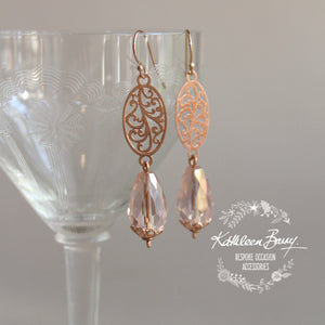 Jemma Rose gold blush pink crystal drop filigree earrings