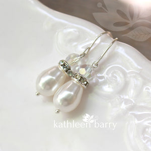 Mae pearl drop crystal & Rhinestone Silver Earrings Bridesmaid gift