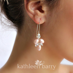 Tamara pearl crystal chandelier earrings pink or ivory - Options : Silver, pale gold or rose gold